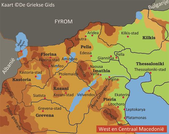 Kaart Noordwest Macedonie
